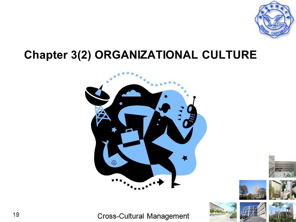 Cross-Cultural Management 19 Chapter 3(2) ORGANIZATIONAL CULTURE