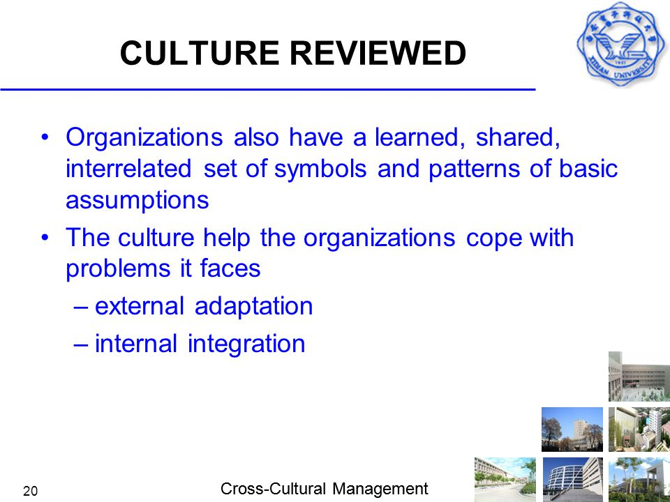 Cross-Cultural Management 20 CULTURE REVIEWED Organizations also have a learned, shared, interrelated set of symbols and patterns of basic assumptions