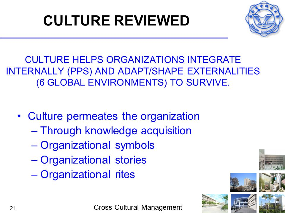 Cross-Cultural Management 21 CULTURE HELPS ORGANIZATIONS INTEGRATE INTERNALLY (PPS) AND ADAPT/SHAPE EXTERNALITIES (6 GLOBAL ENVIRONMENTS) TO SURVIVE.