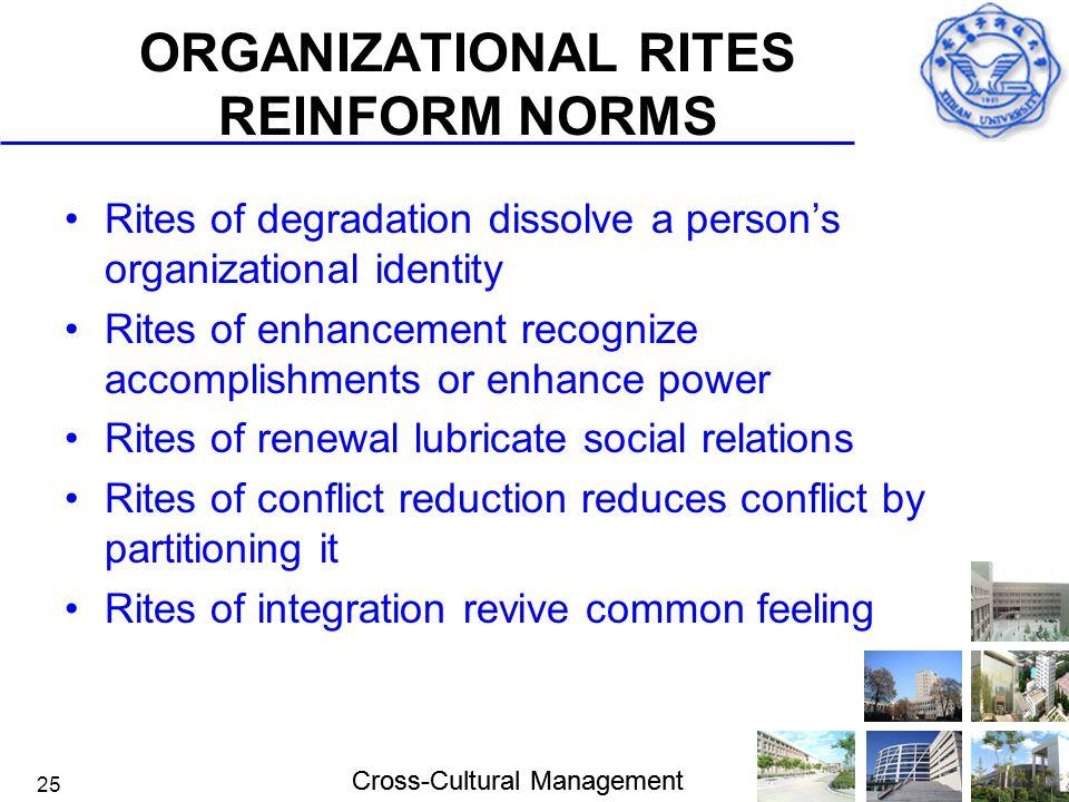 Cross-Cultural Management 25 ORGANIZATIONAL RITES REINFORM NORMS Rites of degradation dissolve a person's organizational identity Rites of enhancement