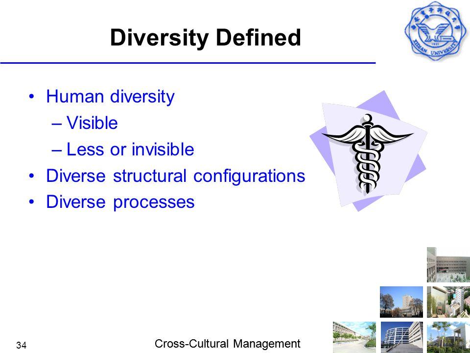 Cross-Cultural Management 34 Diversity Defined Human diversity –Visible –Less or invisible Diverse structural configurations Diverse processes