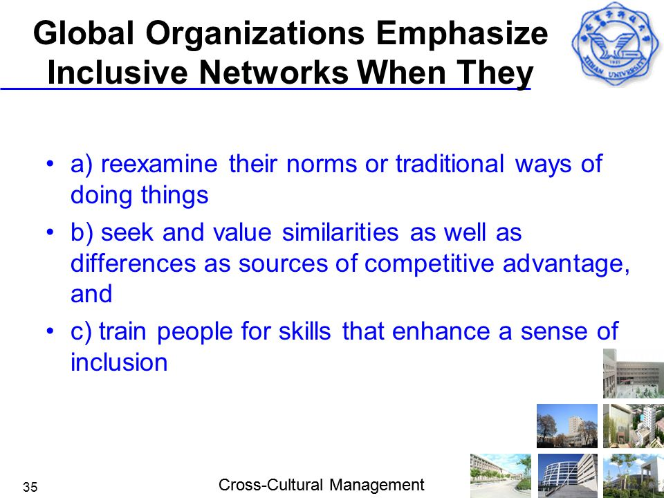 Cross-Cultural Management 35 Global Organizations Emphasize Inclusive Networks When They a) reexamine their norms or traditional ways of doing things
