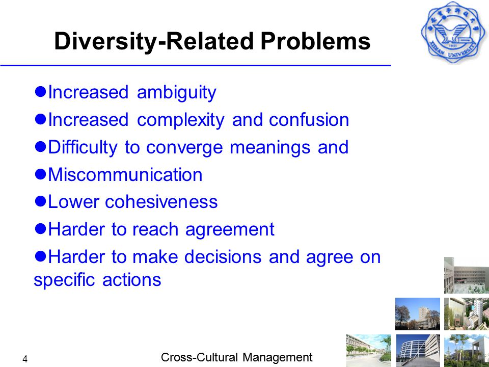 Cross-Cultural Management 4 Diversity-Related Problems Increased ambiguity Increased complexity and confusion Difficulty to converge meanings and Misc