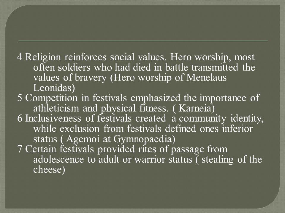 4 Religion reinforces social values.