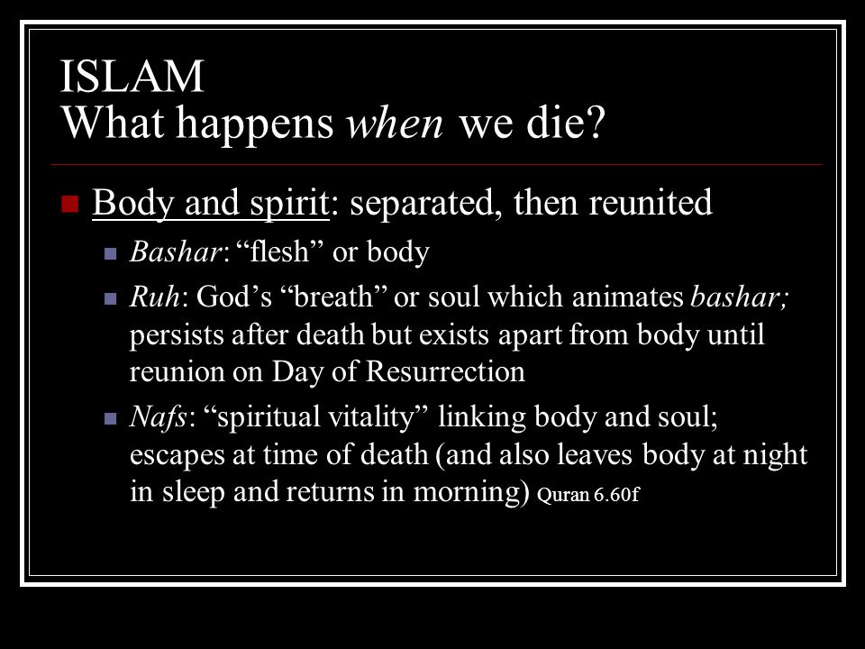 "ISLAM What happens when we die? Body and spirit: separated, then reunited Bashar: ""flesh"" or body Ruh: God's ""breath"" or soul which animates bashar; p"