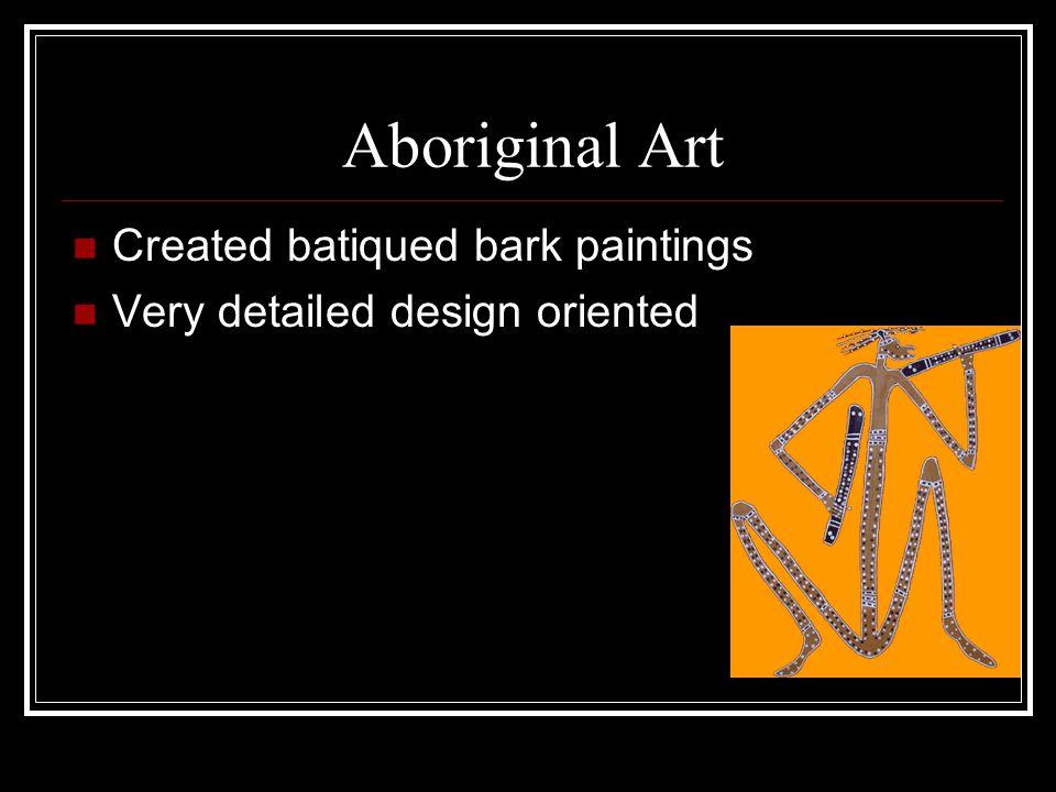 Aboriginal Art Created batiqued bark paintings Very detailed design oriented