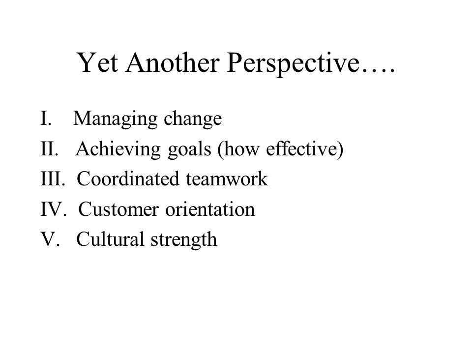 Yet Another Perspective…. I. Managing change II. Achieving goals (how effective) III. Coordinated teamwork IV. Customer orientation V. Cultural streng