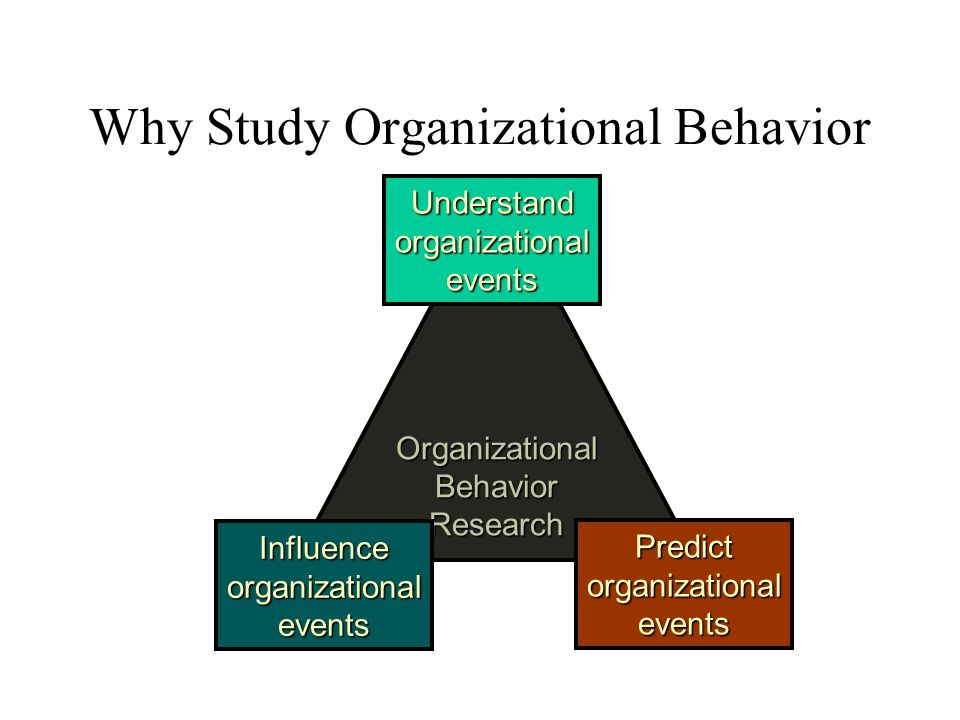 OrganizationalBehaviorResearch Understandorganizationalevents Predictorganizationalevents Influenceorganizationalevents Why Study Organizational Behav