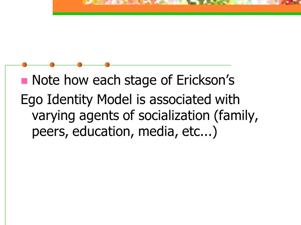 Note how each stage of Erickson's Ego Identity Model is associated with varying agents of socialization (family, peers, education, media, etc...)