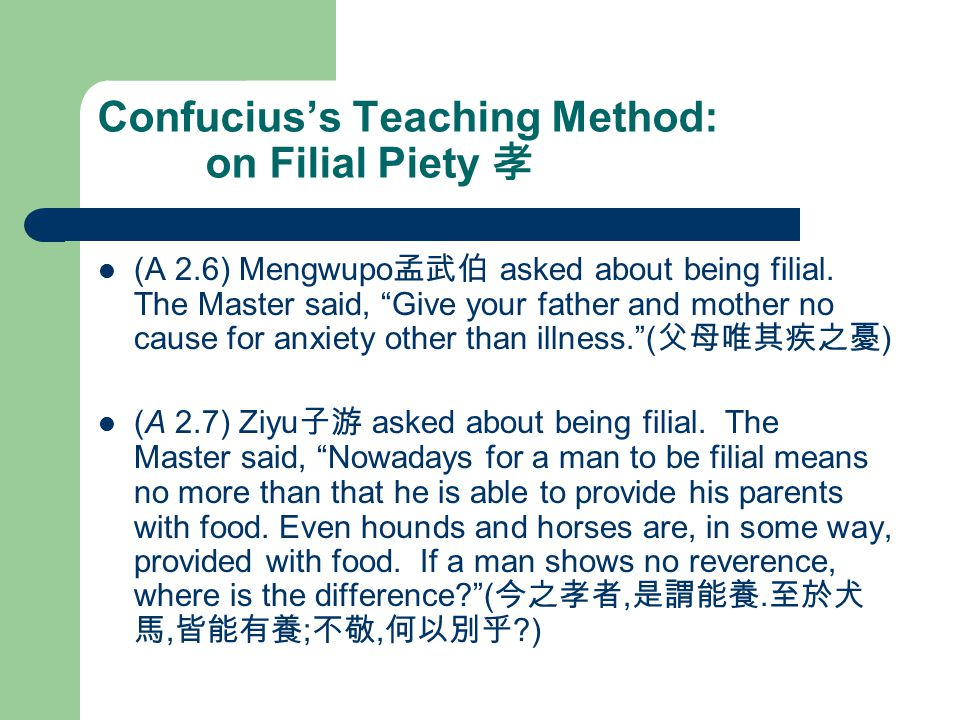 Confucius's Teaching Method: on Filial Piety 孝 (A 2.6) Mengwupo 孟武伯 asked about being filial.
