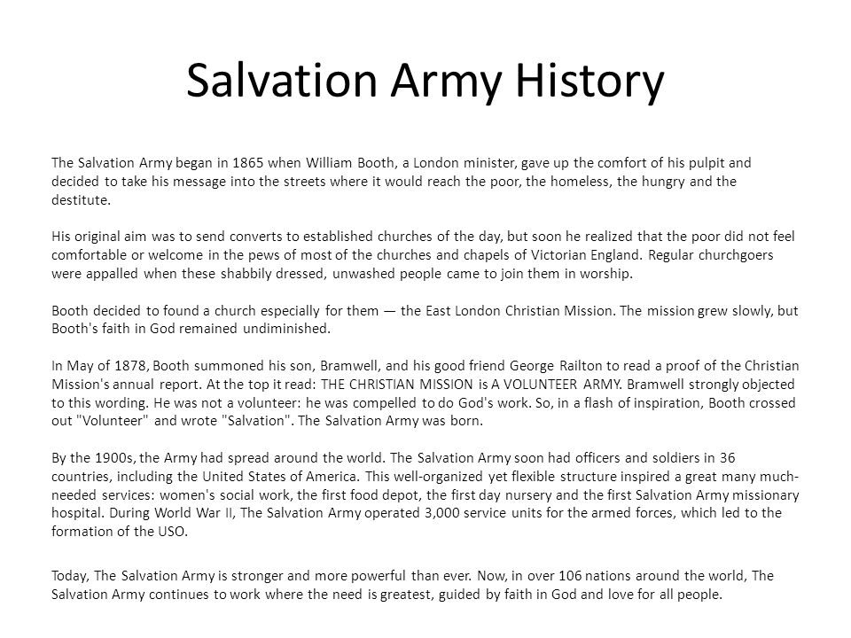 Salvation Army Church Service Active Service Christianity is synonymous with service for the Salvationist.