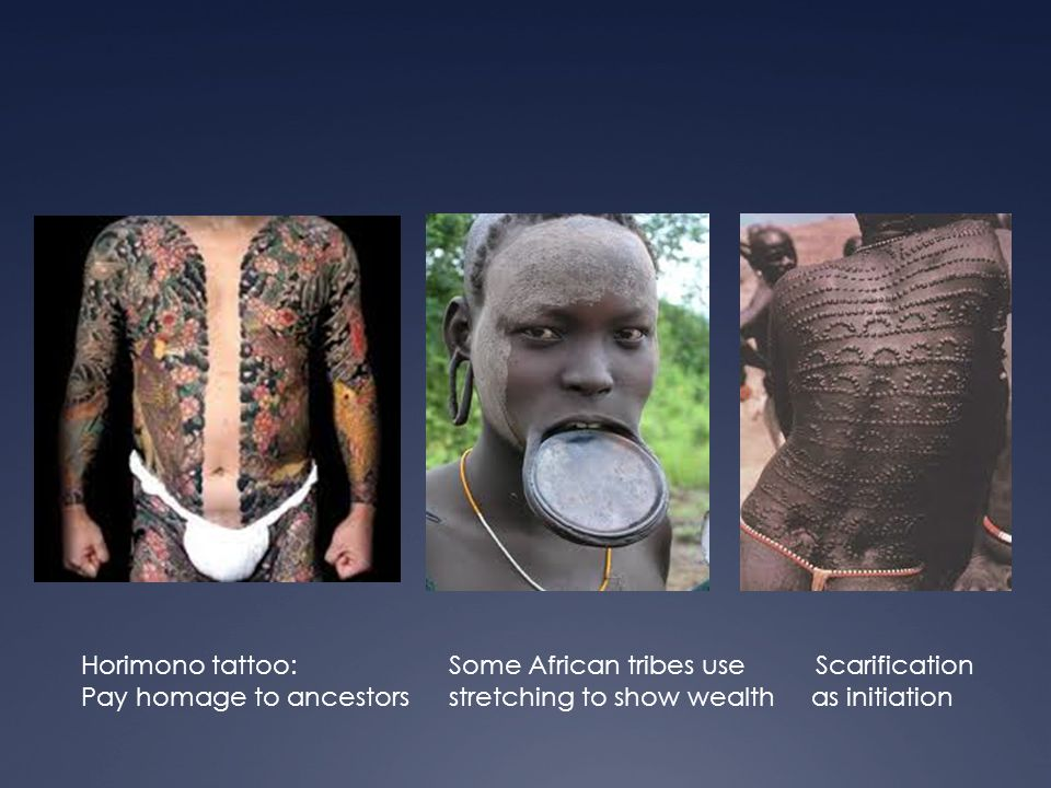 Horimono tattoo:Some African tribes use Scarification Pay homage to ancestorsstretching to show wealth as initiation