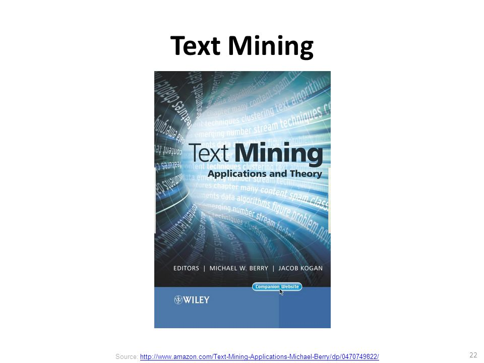Text Mining 22 Source: http://www.amazon.com/Text-Mining-Applications-Michael-Berry/dp/0470749822/http://www.amazon.com/Text-Mining-Applications-Michael-Berry/dp/0470749822/