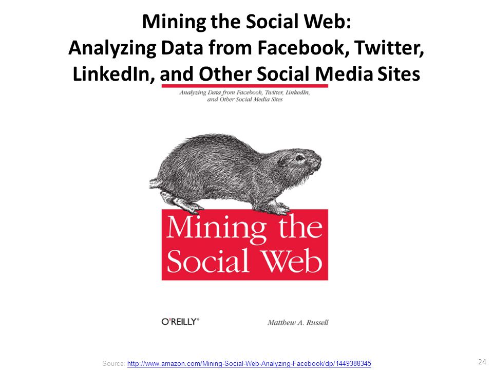Mining the Social Web: Analyzing Data from Facebook, Twitter, LinkedIn, and Other Social Media Sites 24 Source: http://www.amazon.com/Mining-Social-Web-Analyzing-Facebook/dp/1449388345http://www.amazon.com/Mining-Social-Web-Analyzing-Facebook/dp/1449388345