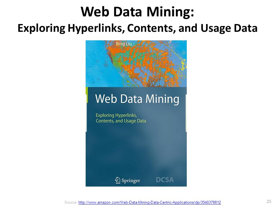 Web Data Mining: Exploring Hyperlinks, Contents, and Usage Data 25 Source: http://www.amazon.com/Web-Data-Mining-Data-Centric-Applications/dp/3540378812http://www.amazon.com/Web-Data-Mining-Data-Centric-Applications/dp/3540378812