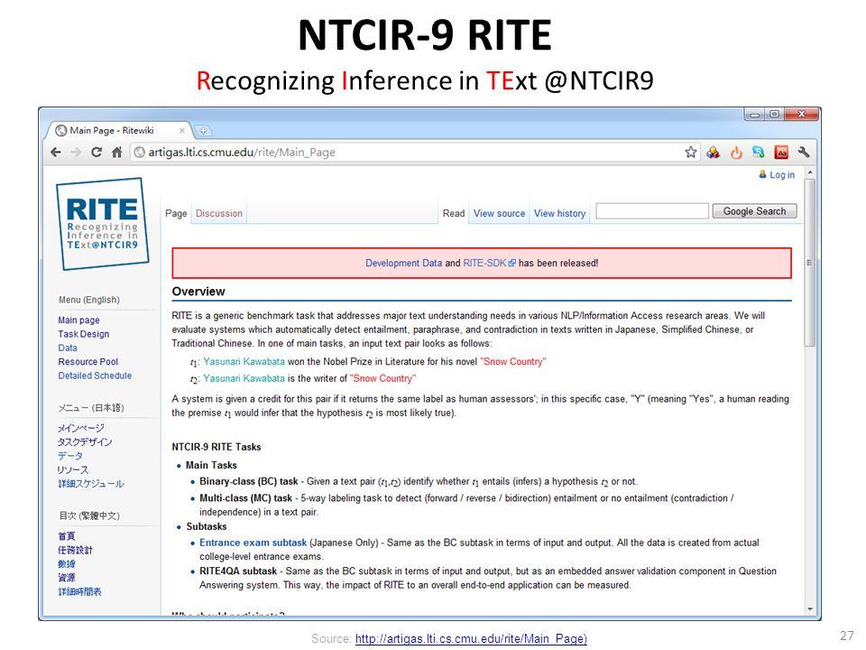 27 Source: http://artigas.lti.cs.cmu.edu/rite/Main_Page)http://artigas.lti.cs.cmu.edu/rite/Main_Page) NTCIR-9 RITE Recognizing Inference in TExt @NTCIR9