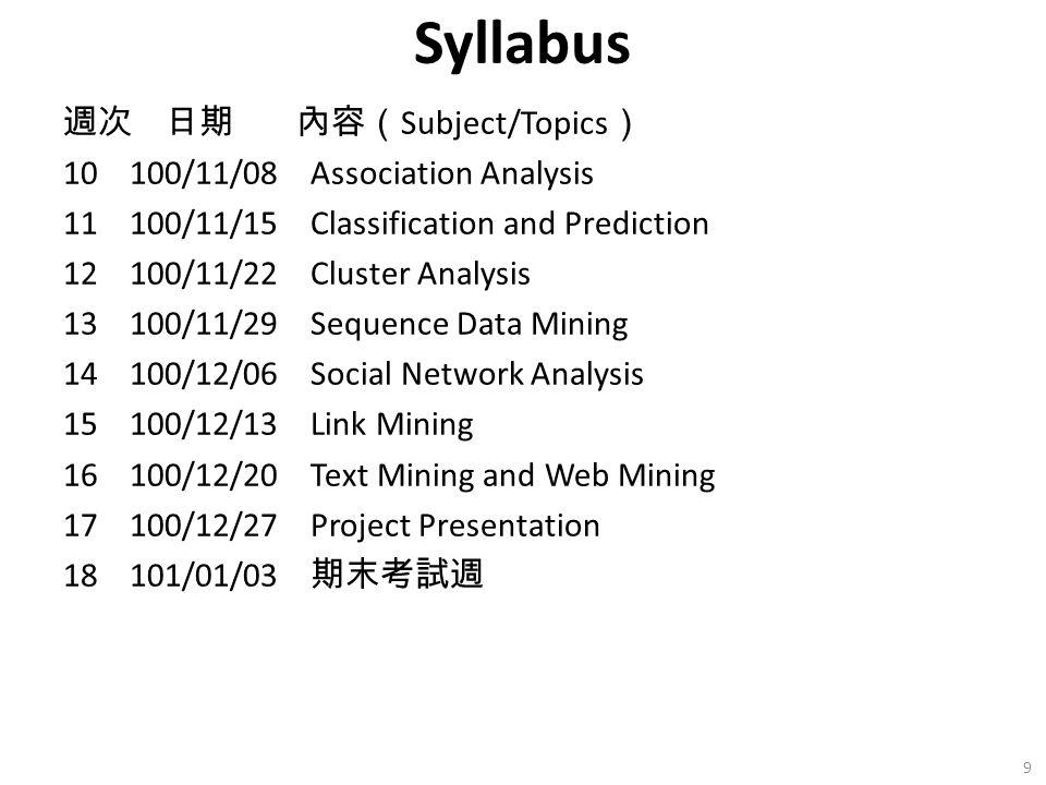 Syllabus 週次 日期 內容( Subject/Topics ) 10 100/11/08 Association Analysis 11 100/11/15 Classification and Prediction 12 100/11/22 Cluster Analysis 13 100/