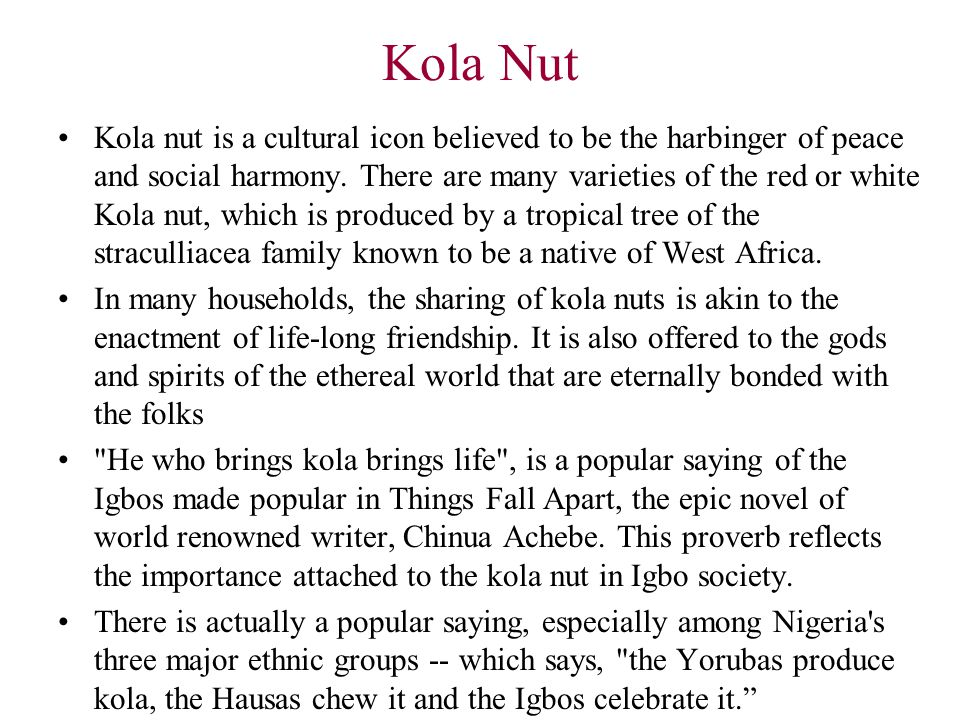 Key Igbo traditions & cultures Kola nut Libation Wearing wrapper and head scarfs Masquerades & Musical Instruments Traditional wedding process Traditional burial process Traditional title holders - ichi ozo