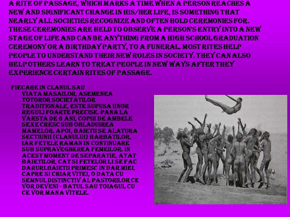 Fiecare in clanul sau Viata masailor, asemenea totoror societatilor traditionale, este supusa unor reguli foarte precise.