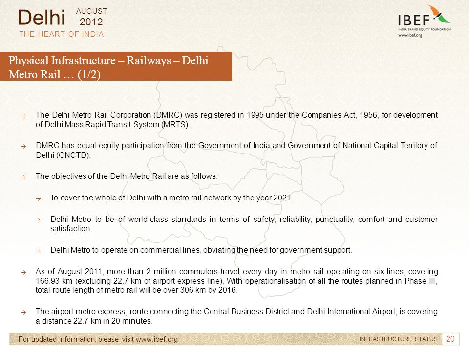 20 THE HEART OF INDIA For updated information, please visit www.ibef.org INFRASTRUCTURE STATUS Physical Infrastructure – Railways – Delhi Metro Rail …