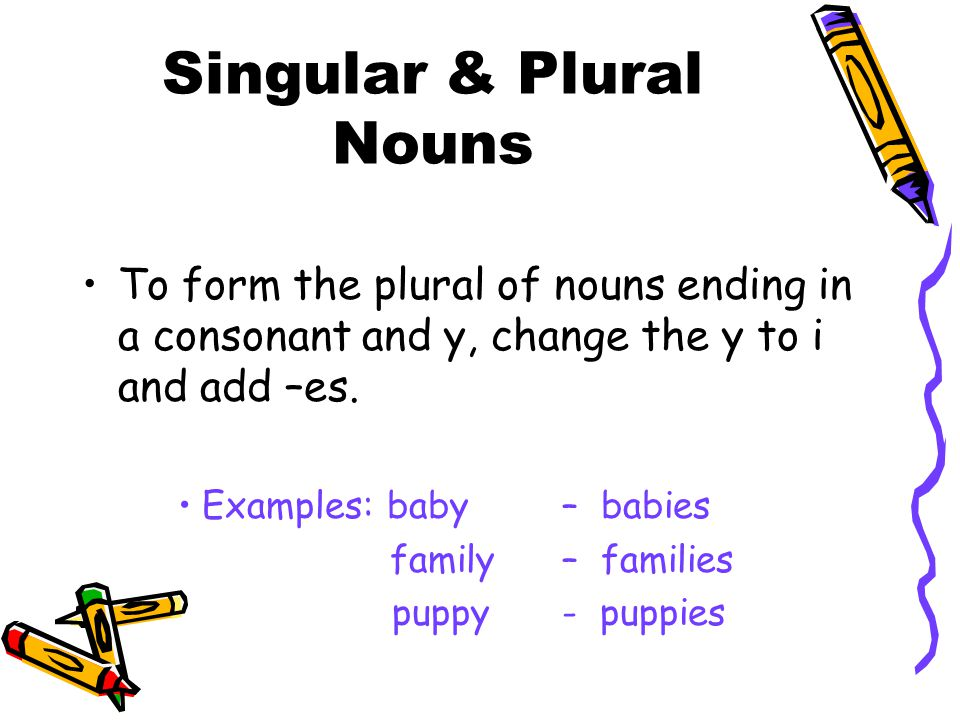 Singular & Plural Nouns To form the plural of nouns ending in a consonant and y, change the y to i and add –es. Examples: baby – babies family – famil