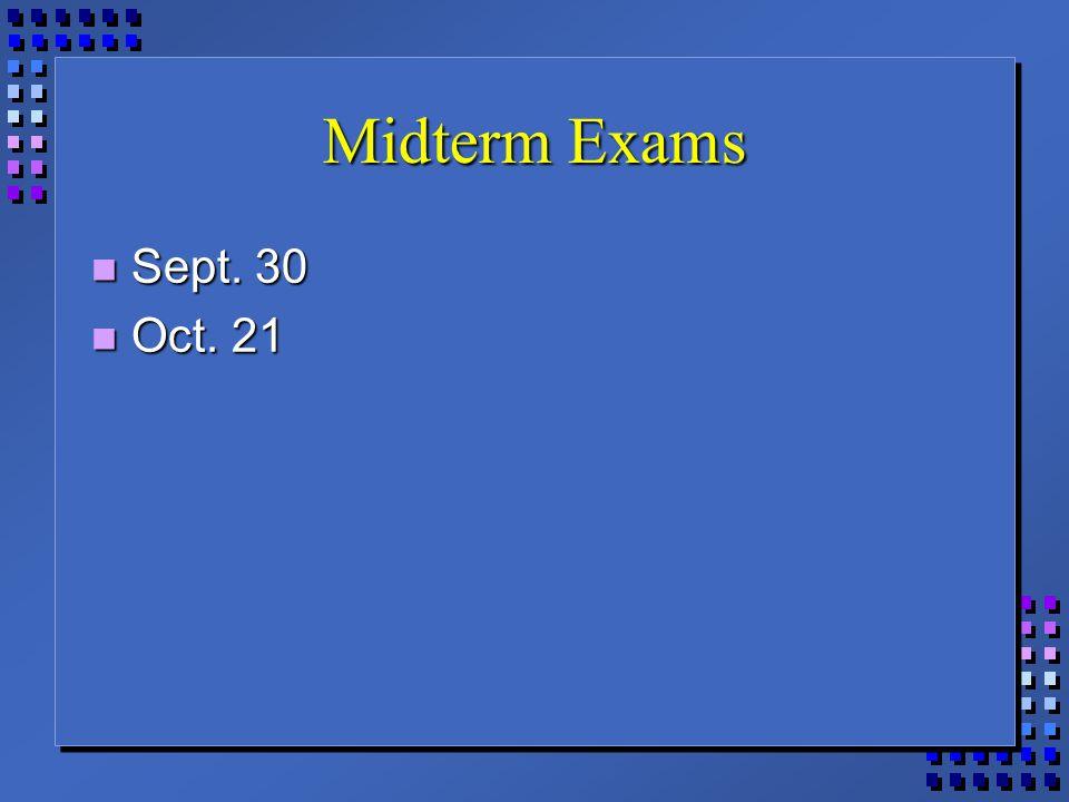 Midterm Exams Sept. 30 Sept. 30 Oct. 21 Oct. 21