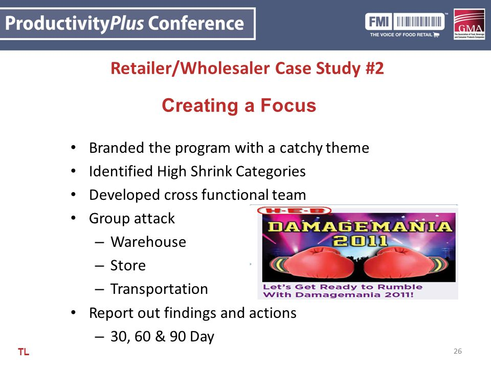 26 Retailer/Wholesaler Case Study #2 26 Creating a Focus Branded the program with a catchy theme Identified High Shrink Categories Developed cross fun