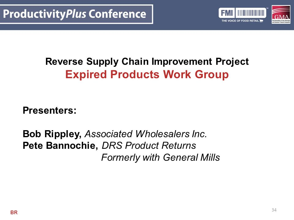 34 Reverse Supply Chain Improvement Project Expired Products Work Group Presenters: Bob Rippley, Associated Wholesalers Inc. Pete Bannochie, DRS Produ