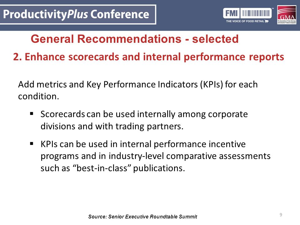 9 2. Enhance scorecards and internal performance reports Add metrics and Key Performance Indicators (KPIs) for each condition.  Scorecards can be use