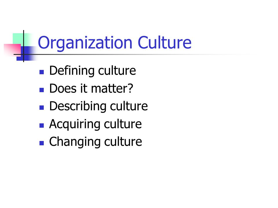 Organization Culture Defining culture Does it matter? Describing culture Acquiring culture Changing culture