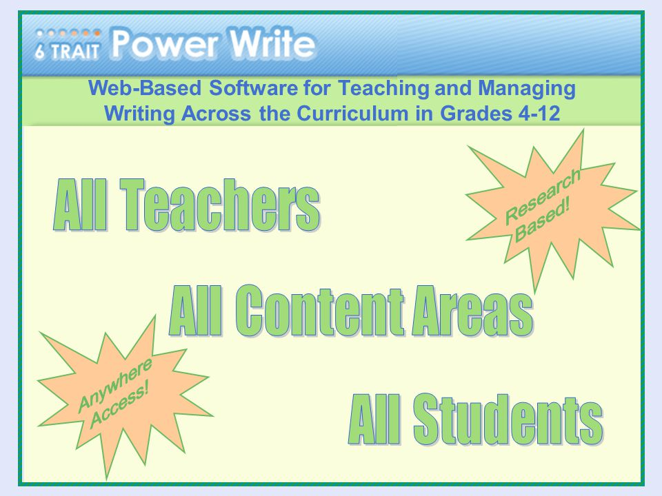 Web-Based Software for Teaching and Managing Writing Across the Curriculum in Grades 4-12