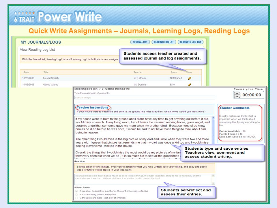 Quick Write Assignments – Journals, Learning Logs, Reading Logs
