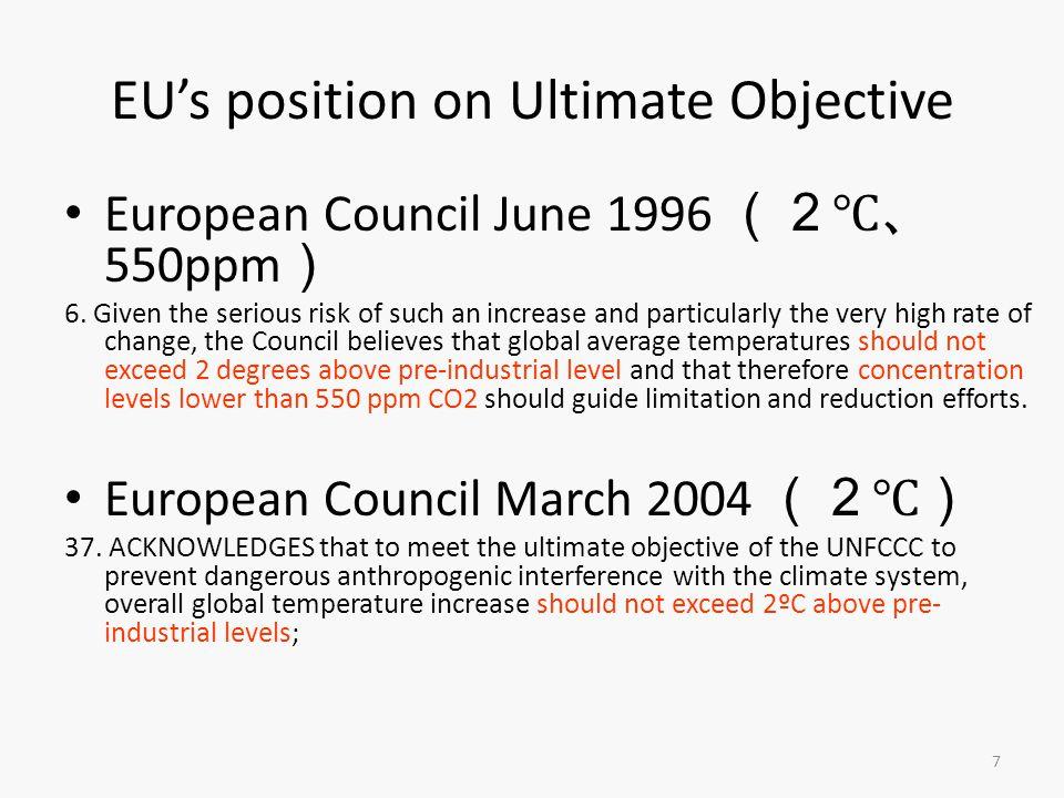 7 EU's position on Ultimate Objective European Council June 1996 (2℃、 550ppm ) 6.