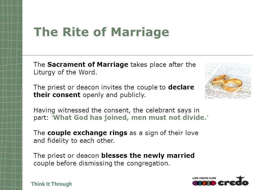 The Rite of Marriage The Sacrament of Marriage takes place after the Liturgy of the Word.