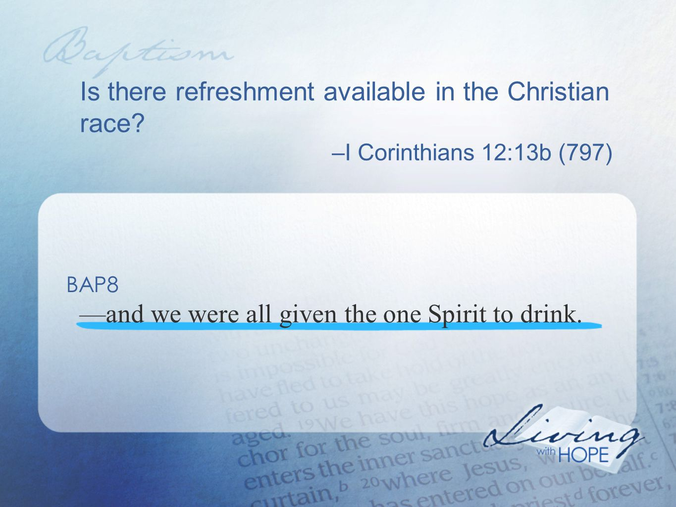 Is there refreshment available in the Christian race.