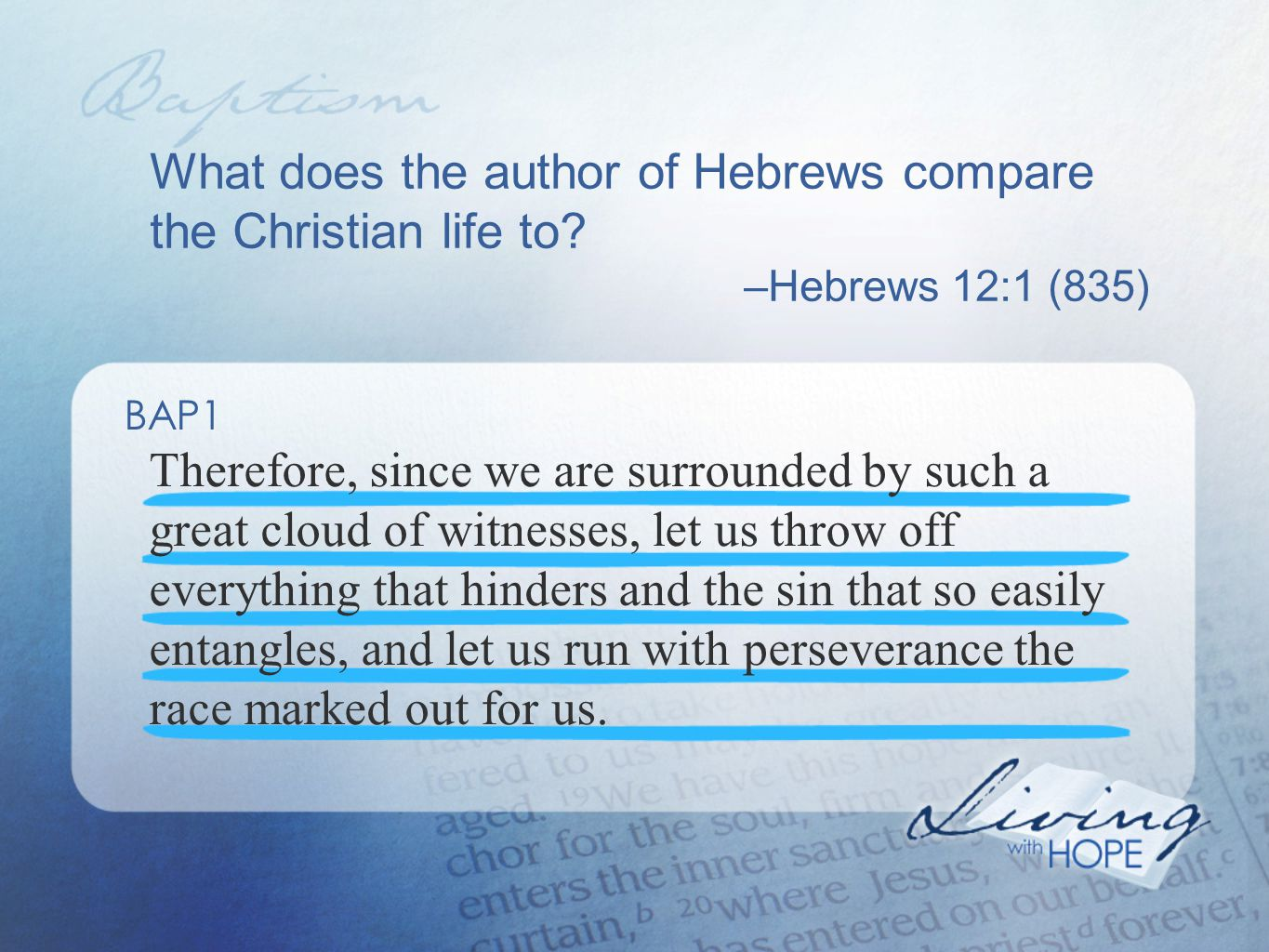 What does the author of Hebrews compare the Christian life to.
