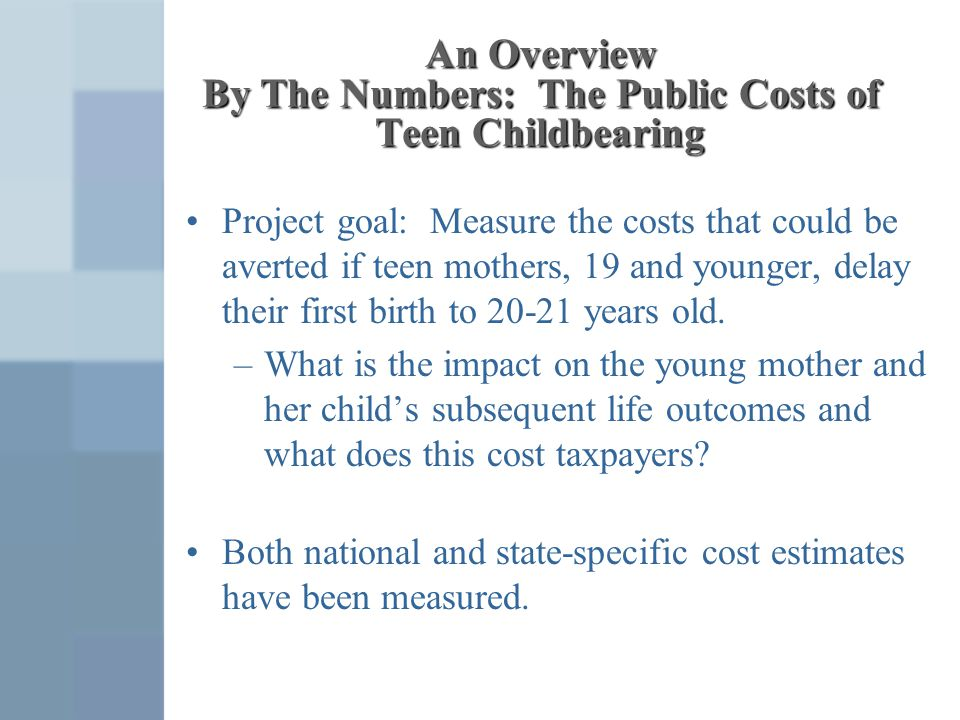 An Overview By The Numbers: The Public Costs of Teen Childbearing Project goal: Measure the costs that could be averted if teen mothers, 19 and younge