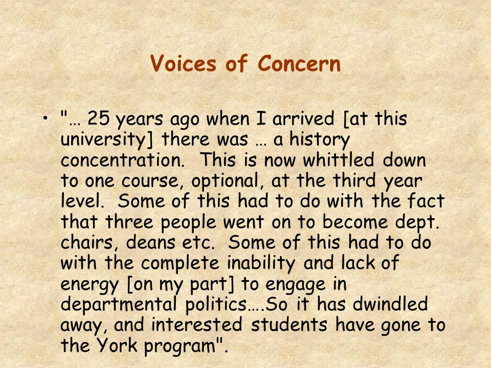 Voices of Concern: Comments from teachers of the history of psychology While I was on my last sabbatical, proposals were floated to dilute my history courses.