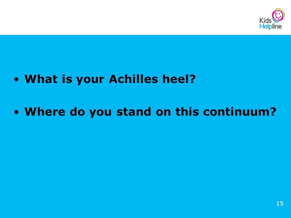 15 What is your Achilles heel? Where do you stand on this continuum?