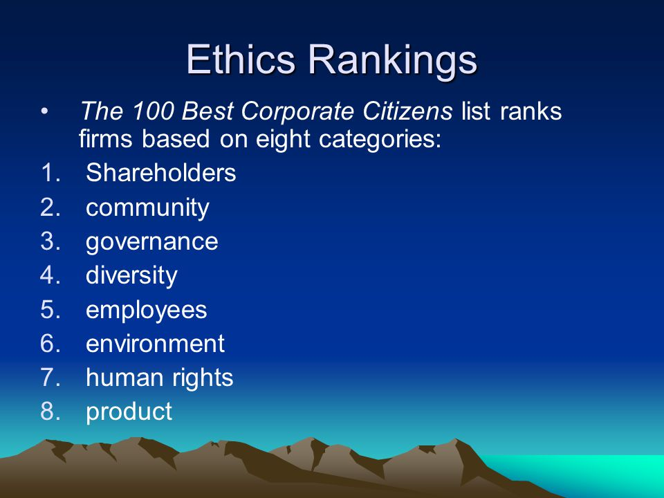 Ethics Rankings The 100 Best Corporate Citizens list ranks firms based on eight categories: 1.