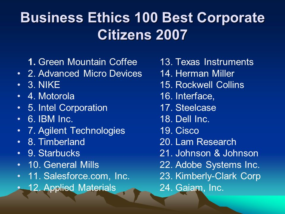 Business Ethics 100 Best Corporate Citizens 2007 1.