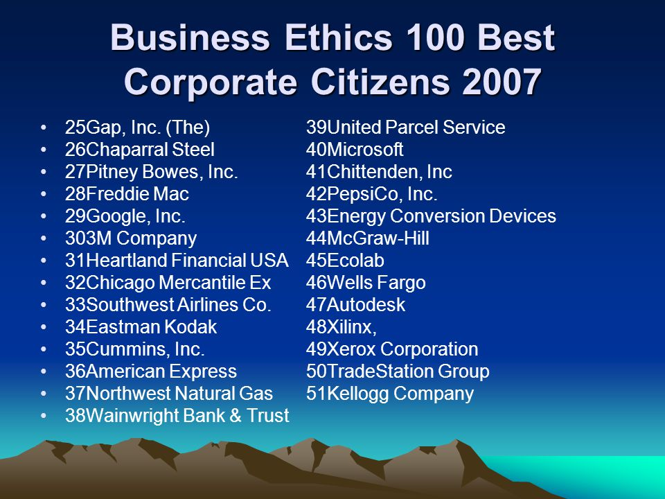 Business Ethics 100 Best Corporate Citizens 2007 25Gap, Inc.