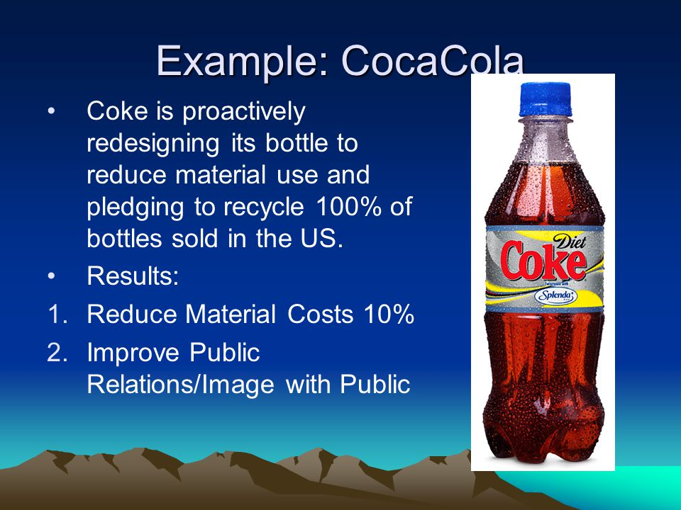 Example: CocaCola Coke is proactively redesigning its bottle to reduce material use and pledging to recycle 100% of bottles sold in the US.