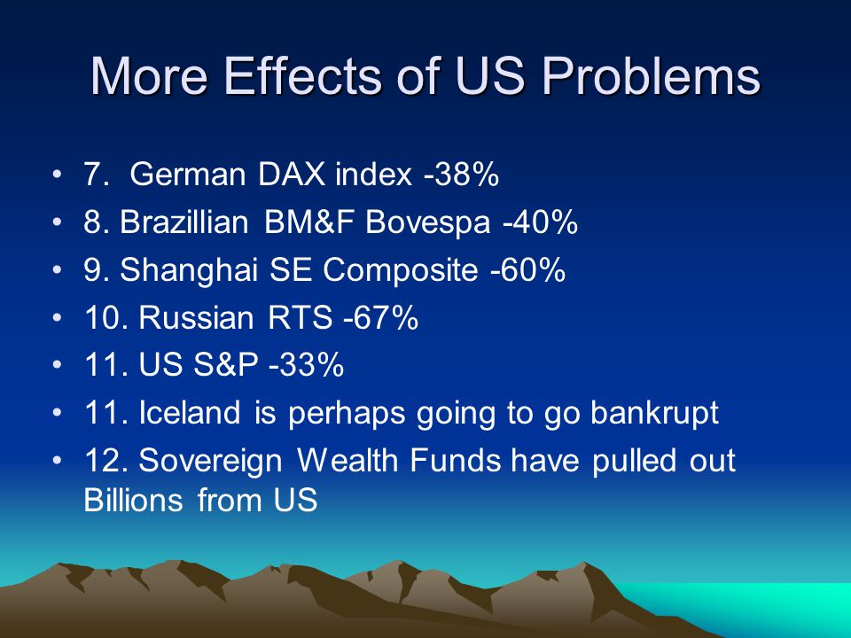 More Effects of US Problems 7. German DAX index -38% 8.