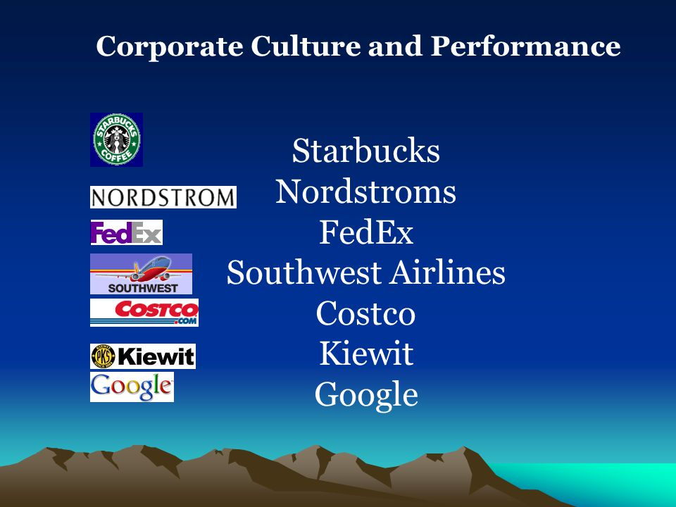 Corporate Culture and Performance Starbucks Nordstroms FedEx Southwest Airlines Costco Kiewit Google