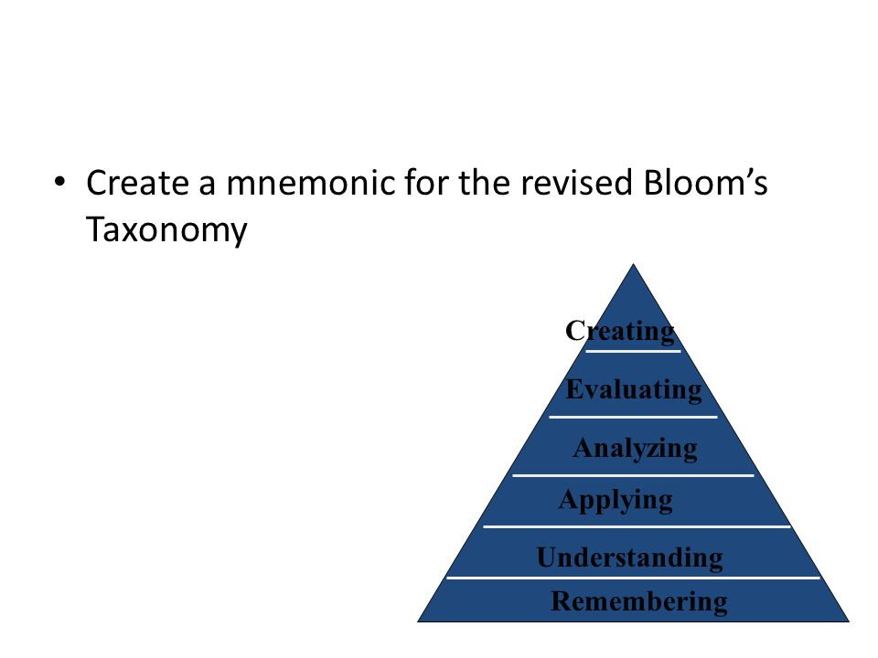 Create a mnemonic for the revised Bloom's Taxonomy Remembering Understanding Applying Analyzing Evaluating Creating