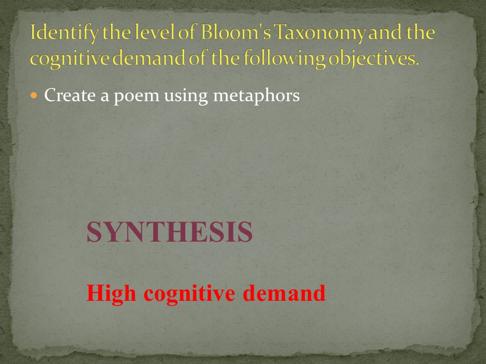 Create a poem using metaphors SYNTHESIS High cognitive demand
