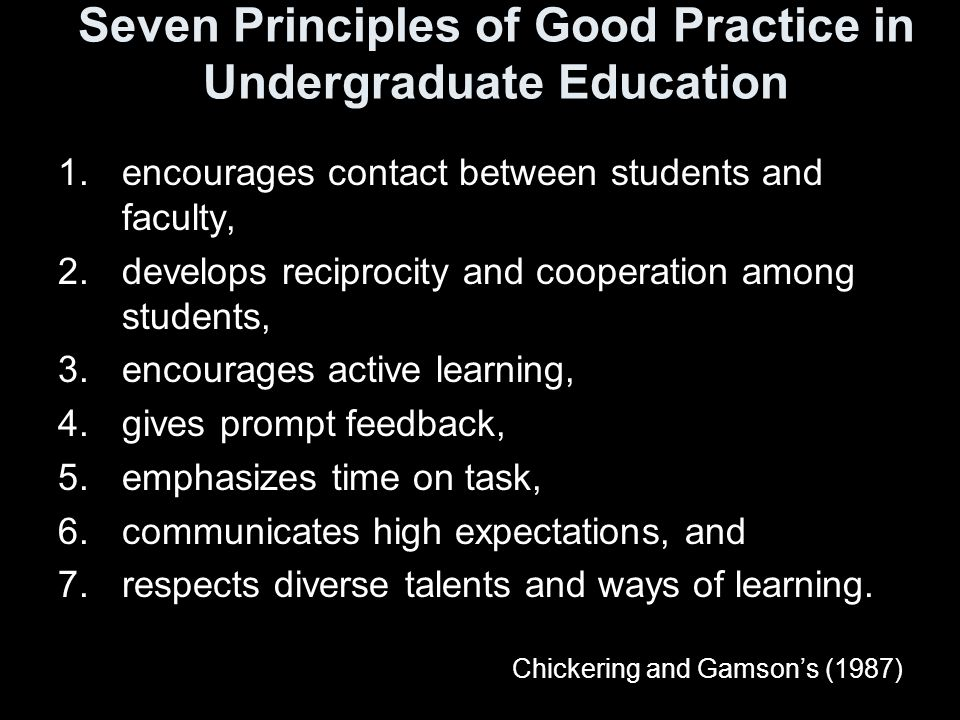 Seven Principles of Good Practice in Undergraduate Education 1.encourages contact between students and faculty, 2.develops reciprocity and cooperation among students, 3.encourages active learning, 4.gives prompt feedback, 5.emphasizes time on task, 6.communicates high expectations, and 7.respects diverse talents and ways of learning.