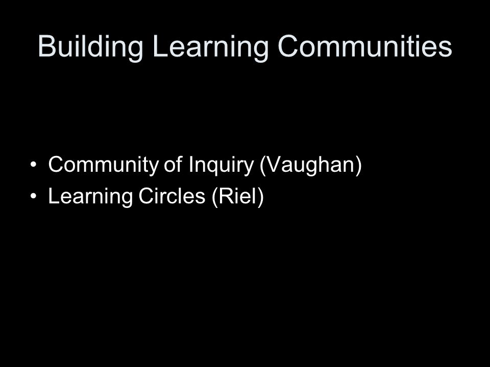 Building Learning Communities Community of Inquiry (Vaughan) Learning Circles (Riel) Jannette