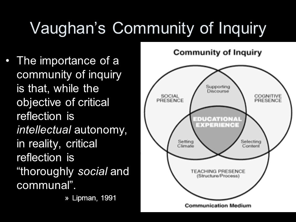 Vaughan's Community of Inquiry The importance of a community of inquiry is that, while the objective of critical reflection is intellectual autonomy, in reality, critical reflection is thoroughly social and communal .
